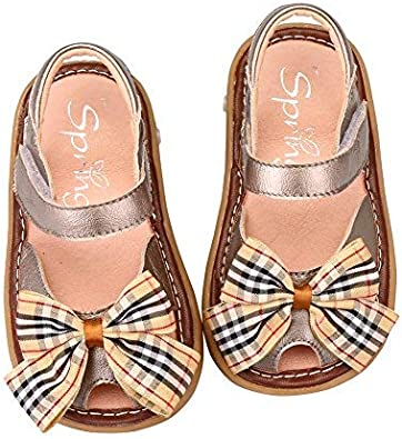 Toddler Tortor 1Bacha Baby Girls Plaid Bowtie Leather Closed Toe Sandals Squeaky Shoes