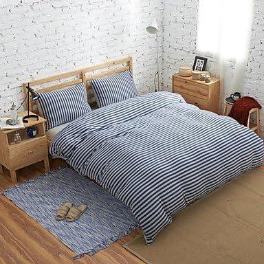 Juego de 4 Muji BuW estilo 100% algodón tejido de punto azul & gris fundas