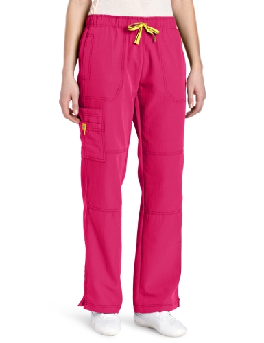 WonderWink Women's Scrubs Four Way Stretch Sporty Cargo Pant, Very Berry, X-Small/Petite (Collection Girl Sporty)