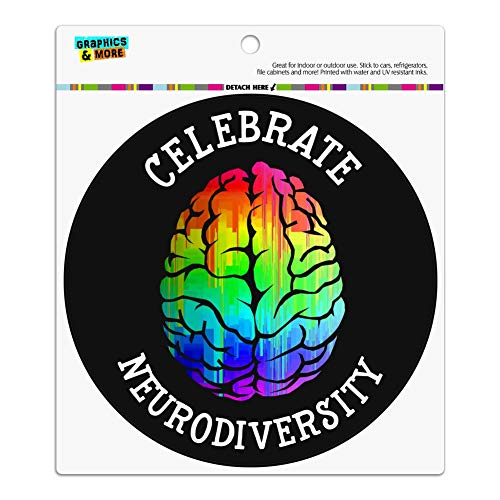 - GRAPHICS & MORE Celebrate Neurodiversity Brain Autism Rainbow Spectrum Automotive Car Refrigerator Locker Vinyl Circle Magnet