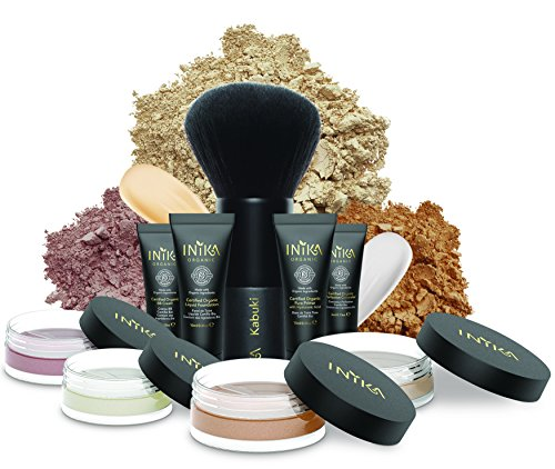 INIKA Face In A Box, Makeup Gift Set, Essentials Starter Beauty Kit, All Natural Formula, Travel Sizes : Primer, Foundation, Bronzer, Concealer, Blush, Vegan Kabuki Brush (Nurture)