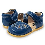 Livie & Luca Girls' Petal Mary Jane Flat, Dark Blue, 10 Medium US Toddler