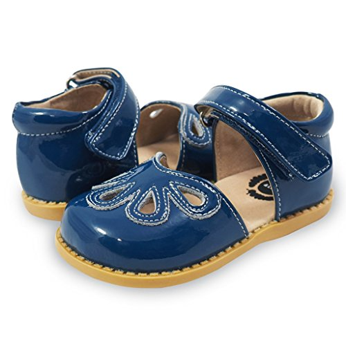 Livie & Luca Girls' Petal Mary Jane Flat, Dark Blue, 13 Medium US Little Kid