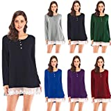 Blouses for Womens, FORUU Spring Long Sleeve O Neck Lace Patchwork T Shirt Pullover Tops