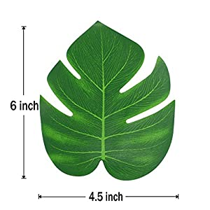 36 Pcs Tropical Artificial Plant Palm Monstera Leaves - Imitation Silk Fabric Decoration Leaf Table Decor Accessories for Jungle Beach Theme Prom and Hawaiian Luau Party Supplies 2