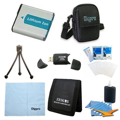 NB-4L Battery 8 pc Kit Deluxe Carrying Case USB Card Reader Table-top Tripod Lens Cleaning Kit Micro Fiber Cloth Screen Memory Card Wallet Protectors Canon Powershot ELPH 100 330 300 310 SD200