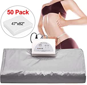 Sauna Blanket, Professional Far-Infrared Heat Sauna Heating Blanket with 50pcs Plastic Sheetings, 2 Zone Controller, Anti Ageing Beauty Machine for Body Shape Slimming Weight Detox Sp (Grey-1)