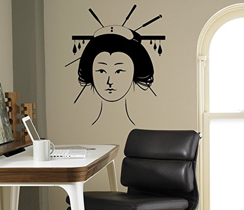 Geisha Wall Vinyl Decal Japanese Asian Culture Wall Sticker Home Wall Art Decor Ideas Room Wall Interior Removable Design 12(gsa)