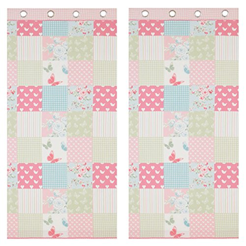 a085b0295af5e Catherine Lansfield Kids Canterbury Patchwork Eyelet Curtains .