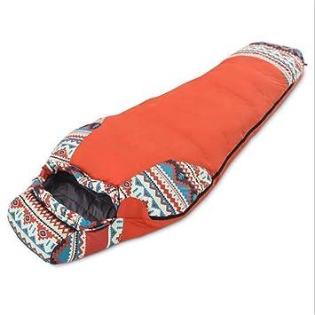 Impermeable Momia Sacos de Dormir Ultraligero Abajo Deporte Senderismo al Aire Libre Invierno Camping Pato Abajo Adulto Sacos de Dormir,Orange: Amazon.es: ...
