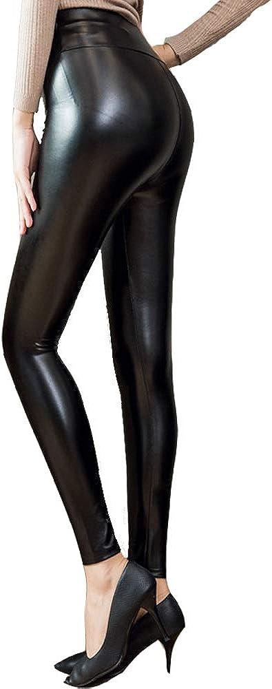 VicSec Leggins PU Cintura Alta para Mujeres, Brillantes Pantalones de Cuero Skinny Ajustados Largos Elásticos Pantalón Sexy Impermeable con Tallas Grandes - S