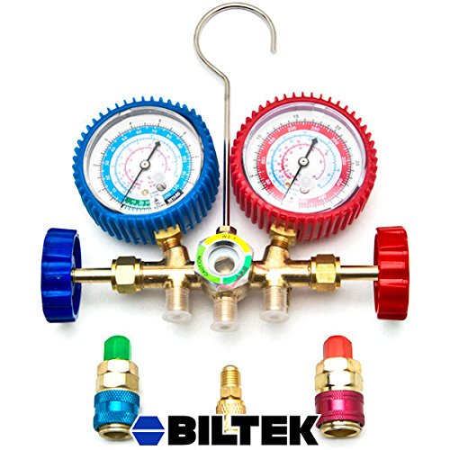 Biltek HVAC R12 R22 R502 A/C Diagnostic Manifold Gauge Kit w