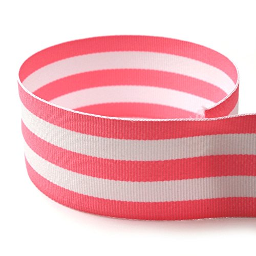"Fabric Yds Stripe (USA Made 1-1/2"" Pink & White Taffy Striped Grosgrain Ribbon - 50 Yards - (Multiple Widths & Yardages Available))"