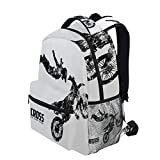 KVMV Weathered Effect with Biker Silhouette and Motocross Racing Moves Theme Lightweight School Backpack Students College Bag Travel Hiking Camping Bags