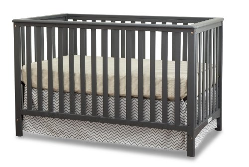 Storkcraft Hillcrest Fixed Side Convertible Crib, Gray