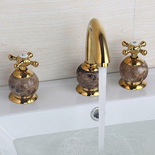 Luxury 3 Pcs Golden Color Tap Waterfall Bathroom Basin Sink Bathtub Mixer Faucet . Chrome Finish Y4Q-884