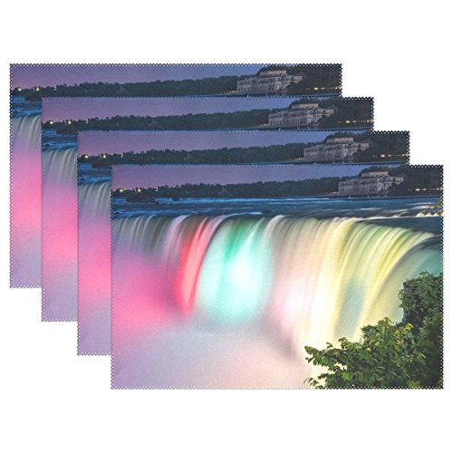 AIKENING Niagra Falls Night River Colors Placemats Set Of 4 Heat Insulation Stain Resistant For Dining Table Durable Non-slip Kitchen Table Place Mats -