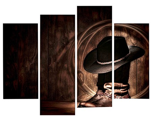 Ceiling Medallions Fine Art (Very artistic Giclee Artwork Figure Paintings Wall Art American West Rodeo Cowboy Hat and Boots 4 Panel Picture Print on Canvas for Modern Home Decoration)