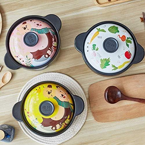 LIUSHI Pot de Casserole de Dessin animé Pot en céramique Pot Haute température avec Motif de Couvercle Pots Japonais adorables pour Soupe Congee-b 3l