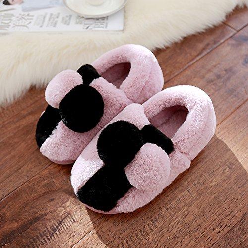 DogHaccd Zapatillas,La Sra. zapatillas de algodón paquete con gruesas y encantadora estancia antideslizante parejas calzado de invierno cálido otoño e invierno Púrpura claro3