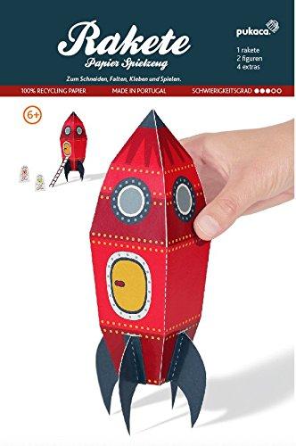 Bastelbogen Rakete - Pukcaka DIY Bastelbögen Papier-Karton für Kindergeburtstag als Geschenkidee, Bastelidee für Jungs Bastelidee für Jungs