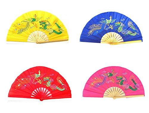 4pcs Different Colors Dragon Phoenix Pattern Kung Fu Martial Tai Chi Bamboo Fan Yellow Pink Blue Red -  jiaoguo, 4335836615