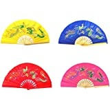 4pcs Different Colors Dragon Phoenix Pattern Kung Fu Martial Tai Chi Bamboo Fan Yellow Pink Blue Red
