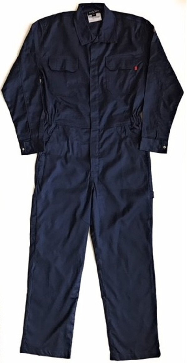 Just In Trend Flame Resistant FR Coverall - 88% C/12% Nylon (Large, Navy Blue)