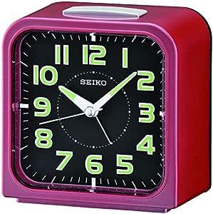 SEIKO Bell Alarm, Lumibrite, Sweep Second Hand, Red Clock 10.5x10.4x6.8 cm