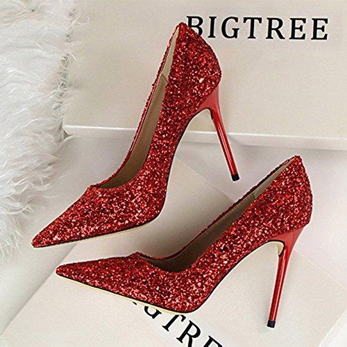 Lentejuelas Red Brillo Mujer Alto Poca Acentuado Aguja Shiney Tacones Profundidad Zapatos De Boda Tacón vxOcfPq