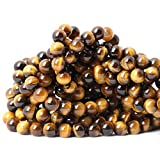 Qiwan 45PCS 8mm Yellow Tiger Eye A Grade Gemstone Loose Beads Natural Round Crystal Energy Stone Healing Power for Jewelry Making 1 Strand 15'