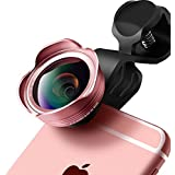 Cell Phone Camera Lens 3 In 1 Pinhen 198 Degree Fisheye Lens/0.45X Wide Angle Lens/12.5X Macro Lens Professional HD Clip-on Camera Lens for iphone,ipad, Samsung,Huawei (D25 Rose)