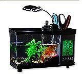 Mini USB Desktop Aquarium LCD Dispay Fish Tank Clock Timer