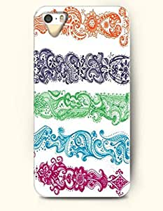 OOFIT Apple iPhone 4 4S Case Paisley Pattern ( Orange Red Dark Blue Light Green Sky Bule Medium Violet Red Five-Color Leaves )
