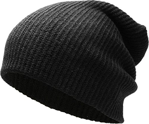 KBW-12 BLK Solid Slouchy Beanie Baggy Style Skull Cap Winter Unisex Ski Hat