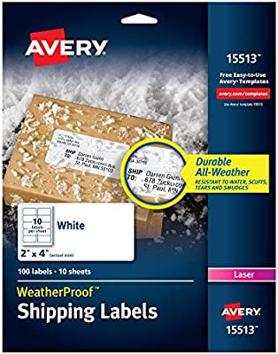 Amazon Avery Weatherproof Mailing Labels With Trueblock