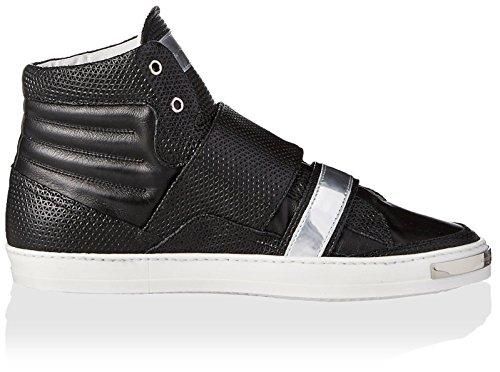 Alessandro Dellacqua Heren Gibson Dubbele Riem Hoge Top Sneaker Zwart