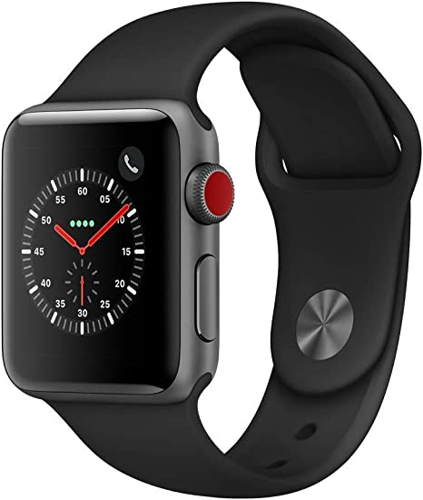 Apple Watch Series 3 (GPS + Cellular, 38mm) - Space Gray Aluminium Case with Black Sport Band (Renewed)