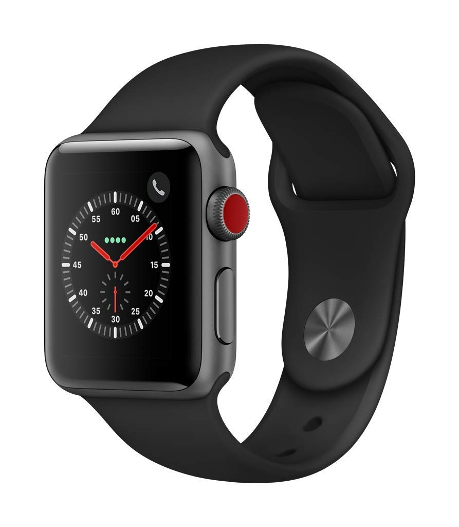 Apple Watch Series 3 (GPS + Cellular, 38mm) - Space Gray Aluminium Case with Black Sport Band (Renewed) by Apple