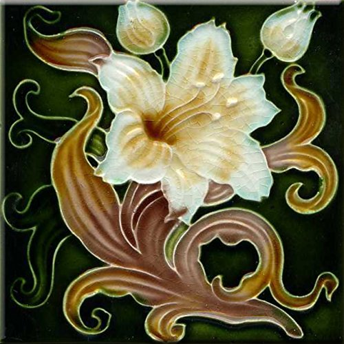 Art Nouveau Ceramic Tile 6 Inches Reproducction #0058