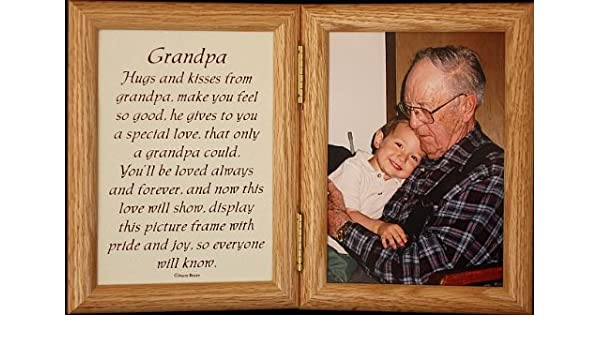 5x7 Hinged GRANDPA Poem Oak Picture Photo Frame A Wonderful Gift Idea For Grandpa Grandparent Valentines Day Birthday Or Christmas Amazonca Home