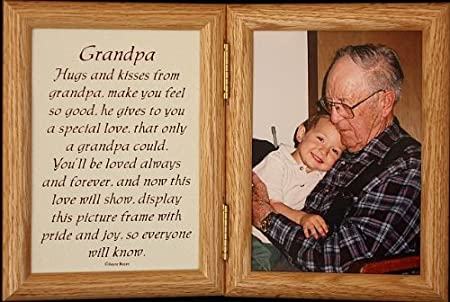 5x7 Hinged GRANDPA Poem Oak Picture Photo Frame A Wonderful Gift