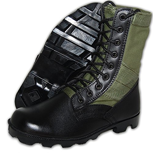 Jungle Vulcanized Boot - Shoe Artists G.I. COMBAT Jungle Boot- Green, Men Size 10