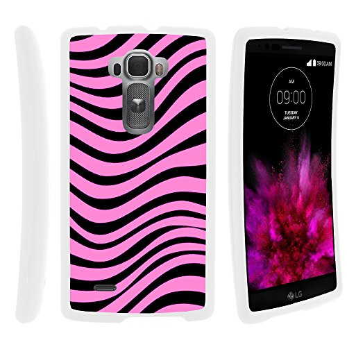 MINITURTLE Compatible with LG G Flex 2 Cell Phone Case Hard Cover w/Cute Design Patterns Pink - Pink Palm Zebra Pre