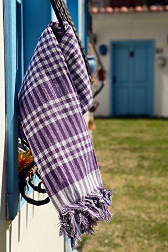 Checked Blanket (Tablecloth Linen Checked Plaid Table Cloth Dinner Summer Dining Tablecloth Picnic Throw Blanket Table Cover Gingham Check Buffalo Bohemian Checkered Retro Vintage Sofra (64x64, purple))