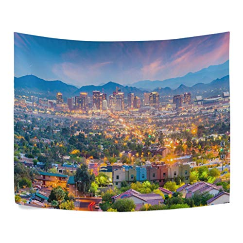ZZKKO American City Phoenix Arizona USA Downtown Cityscape at Dusk Landscape Polyester House Decor Wall Hangings Tapestry Wall Carpet 60x40 Inch Apartment Decor
