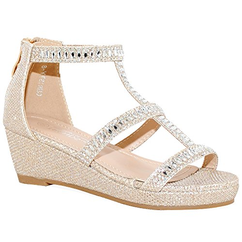 Kid's Fashion Little Girl Pretty Party Dress Bridal Wedge Sandals (2 M US Little Kid, Nude Sparkle)