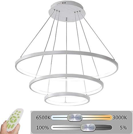Modern 2//3 Ring Pendant LED Hanging Ceiling Light White Dimmable Chandelier Lamp