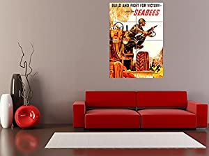 Panel Art Print Propaganda War Wwii Usa Build Fight Victory Seabees Soldier Reproduction Poster Oz4003 from Doppelganger33 LTD