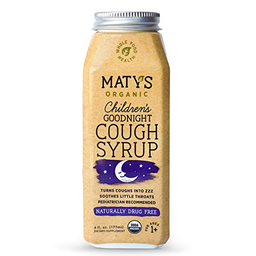 Maty's Organic Children's Goodnight Cough Syrup, 6 Fluid Ounce, Organic Cough Remedy, Soothes Throats With Organic Honey, Chamomile & Nutmeg, Immune Boosting, Helps Ease Common Cold Symptoms